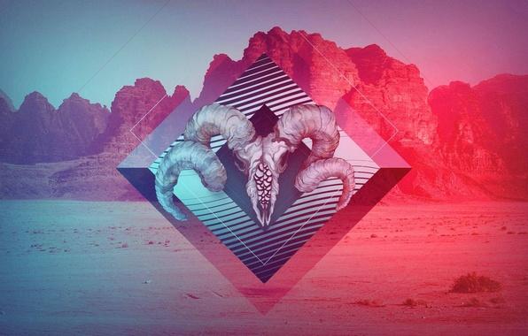 Picture mountains, color, skull, horns, sake, art, pint
