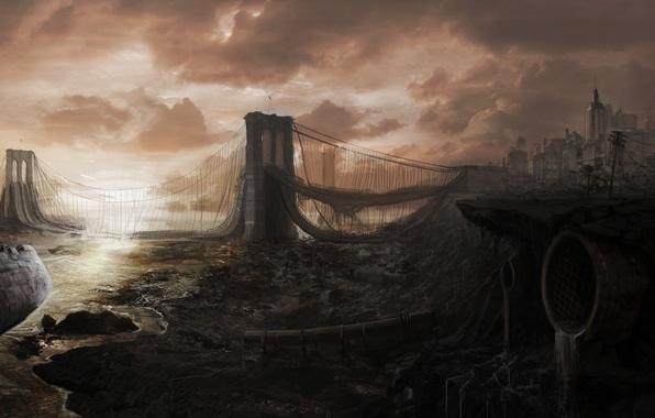 Picture bridge, the city, ship, devastation, ruins, postapokalipsis