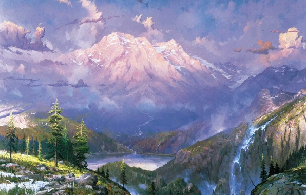 Picture snow, landscape, mountains, nature, lake, waterfall, twilight, painting, Thomas Kinkade, painting, Thomas Kinkade, Twilight Vista