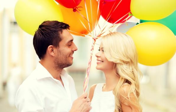Picture balls, love, joy, happiness, balloons, pair, happy, couple, romance, balloons