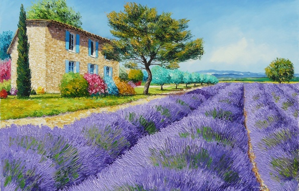 Picture field, trees, landscape, flowers, mountains, house, picture, art, the bushes, Jean-Marc Janiaczyk, lavender, Provence