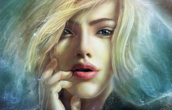 Picture look, girl, face, hair, art, fingers, FX_visual