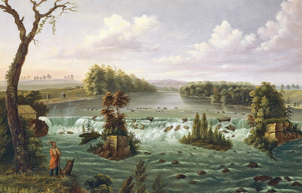 Picture landscape, river, picture, thresholds, Indian, Henry Lewis, The Falls Of St. Anthony, Upper Mississippi