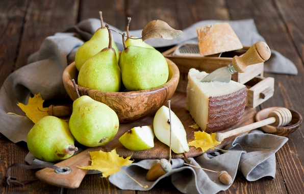 Picture yellow, leaves, cheese, still life, knife, fruit, harvest, autumn, pear, food, Anna Verdina, dishes