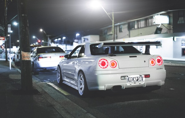 Picture white, night, the city, Nissan, GT-R, skyline, Nissan, R34, skyline