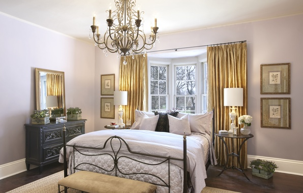 Picture flowers, design, room, bed, interior, bouquet, pillow, mirror, window, chandelier, curtains, bedroom, vase