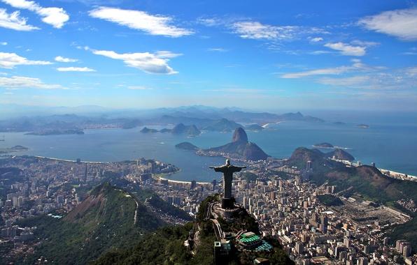 Picture landscape, mountains, the ocean, coast, panorama, Bay, Brazil, megapolis, Rio de Janeiro, Rio de Janeiro, …