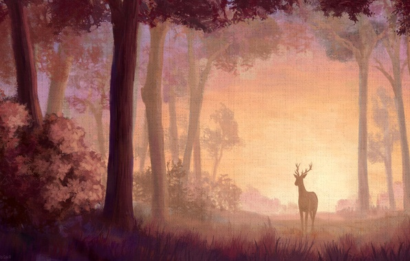 Picture forest, nature, paint, deer, canvas, print