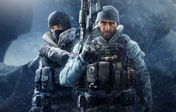 Picture battlefield, girl, gun, pistol, game, Canada, Frost, soldier, blizzard, weapon, woman, war, snow, Rainbow Six, …