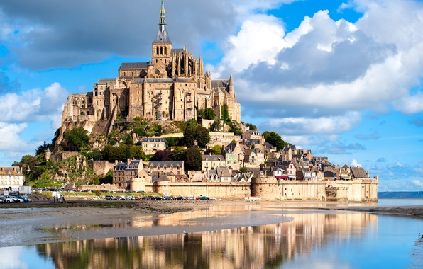 Photo wallpaper reflection, island, France, Mont Saint Michel, castle, fortress, the sky, river, clouds