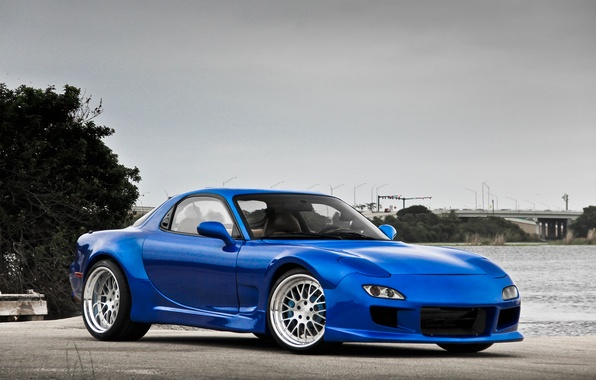Picture water, blue, tuning, Mazda, blue, tuning, water, tree, Mazda, rx-7