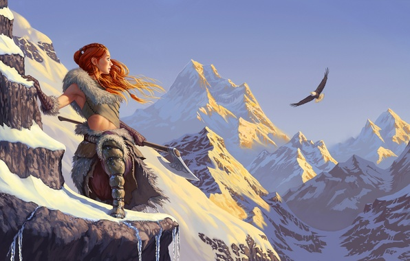 Picture the sky, girl, snow, mountains, eagle, red, axe