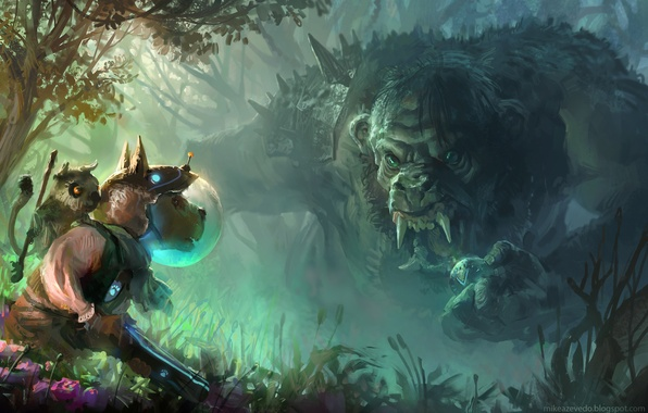 Picture forest, flowers, weapons, dog, fantasy, art, helmet, animal, Troll