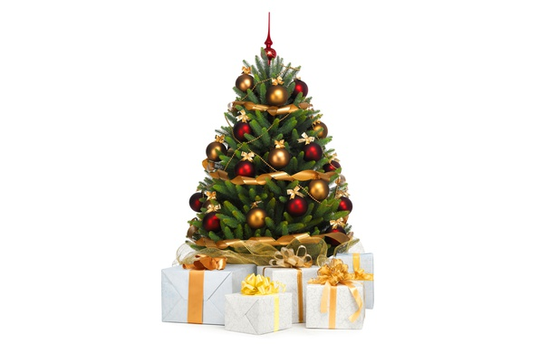 Picture balls, holiday, toys, gifts, white background, New year, tree, ribbons, box, Christmas