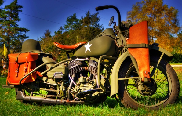 Picture model, HDR, war, motorcycle, military, Harley-Davidson, world, Second, times, 1942., WLA