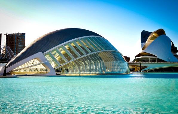 Picture water, bridge, the city, river, the building, architecture, Spain, blue, Spain, Valencia, The Hemisfèric, Valencia, …