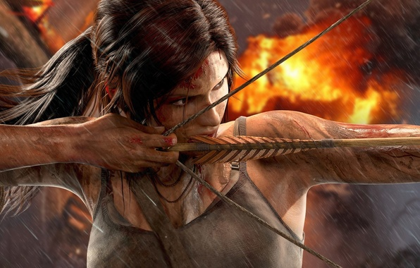 Picture chest, girl, the explosion, rain, fire, blood, bow, dirt, Tomb Raider, Lara Croft, Square Enix, …