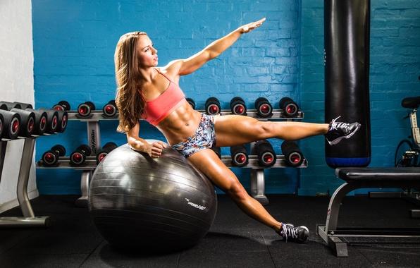 Photo wallpaper fitness, pose, ball, gym, workout