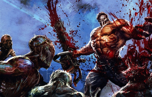 Picture blood, people, mask, monsters, zombies, maniac, Splatterhouse, chainsaw