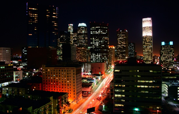 Picture night, lights, building, Los Angeles, Los Angeles