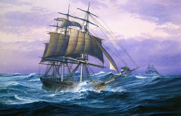 Picture wave, storm, the ocean, figure, ship, sailboat, sails, large, brig, mast, rigging, the bowsprit, three-masted, …