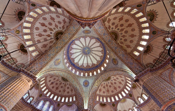 Picture pattern, arch, architecture, the dome, religion, Istanbul, column, The blue mosque