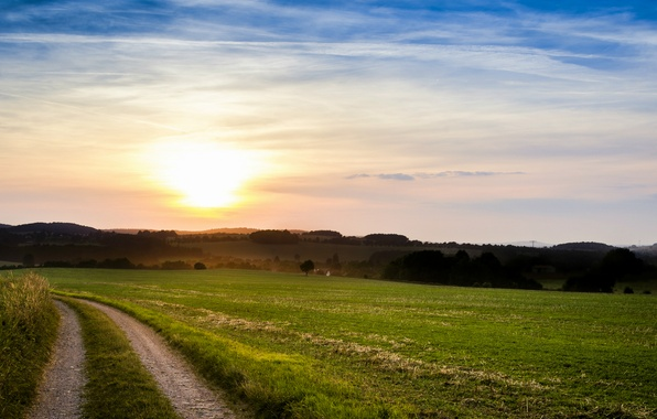 Picture field, summer, the sky, the sun, clouds, trees, sunset, the evening, Italy, path