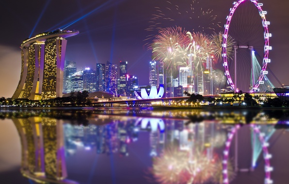Picture the sky, night, lights, lights, reflection, holiday, skyscrapers, backlight, Bay, Singapore, fireworks, architecture, megapolis, sky, ...