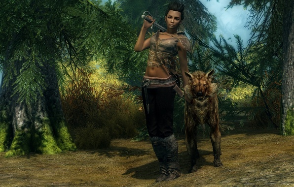 Picture road, forest, look, girl, trees, weapons, animal, sword, The Elder Scrolls V Skyrim