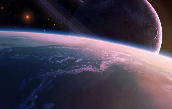 Picture space, stars, planet, satellite, ring, art, QAuZ