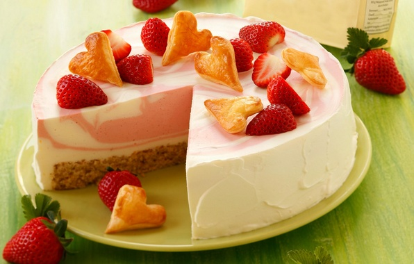 Picture berries, heart, food, strawberry, cake, cake, cake, cream, dessert, food, hearts, sweet, dessert, berries, cheesecake, …