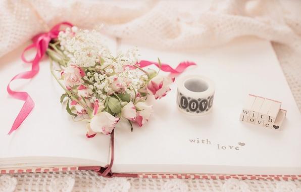 Picture flowers, the inscription, roses, bouquet, notebook, vintage