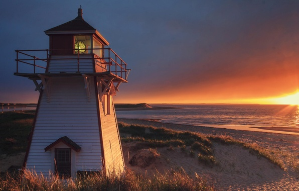 Picture the ocean, dawn, shore, coast, lighthouse