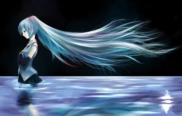 Picture girl, night, lake, hair, anime, Hatsune Miku, Vocaloid