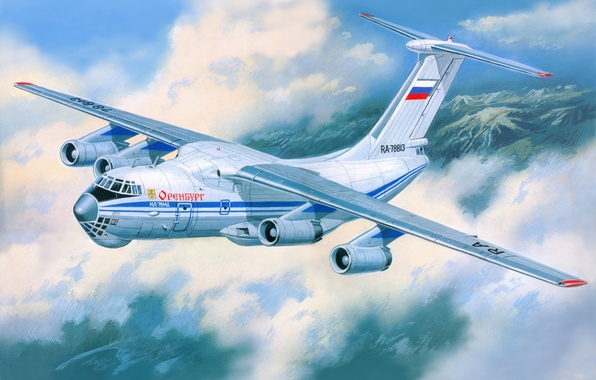 Picture aviation, art, the plane, The Il-76, transport, military