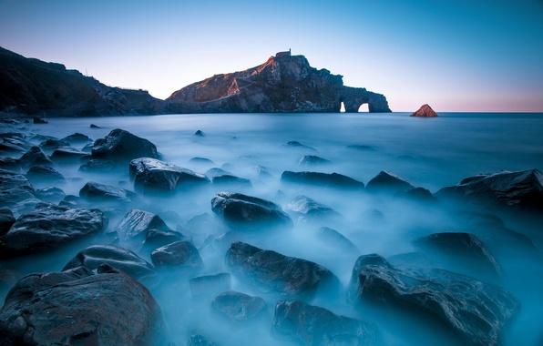 Picture sea, landscape, stones, rocks, Spain, Gaztelugatxe's San Juan, Bizkaia