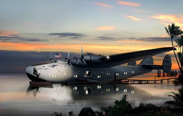 "Picture water, boat, figure, art, Bay, American, WW2, monoplane, flying, seaplane, staff, Consolidated, ""Coronado"", PB2Y, flight …"