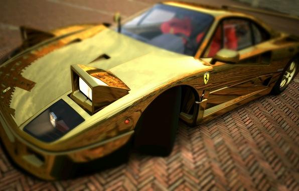 Picture Ferrari, F40, Lights, Graphics, Gold, Supercar, Gold, F 40