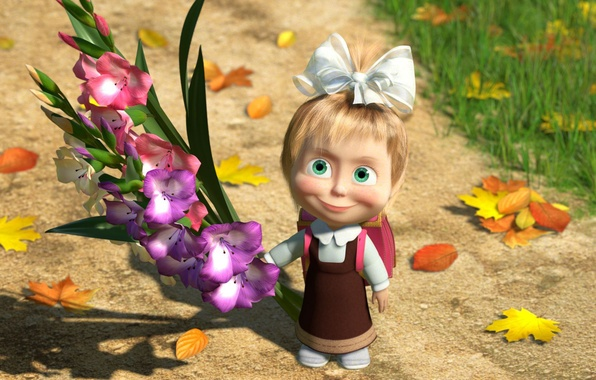 Picture autumn, leaves, flowers, school, Masha and the bear, 1 Sep