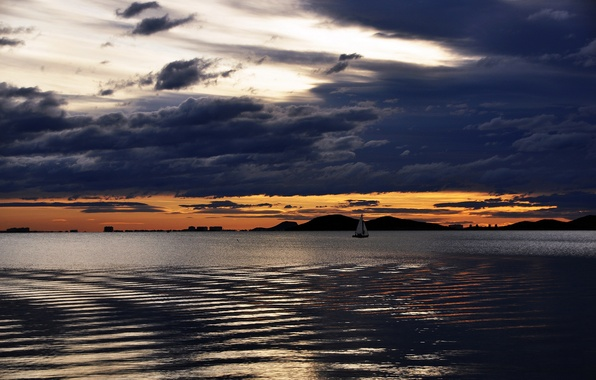 Picture the sky, water, clouds, lake, boat, ship