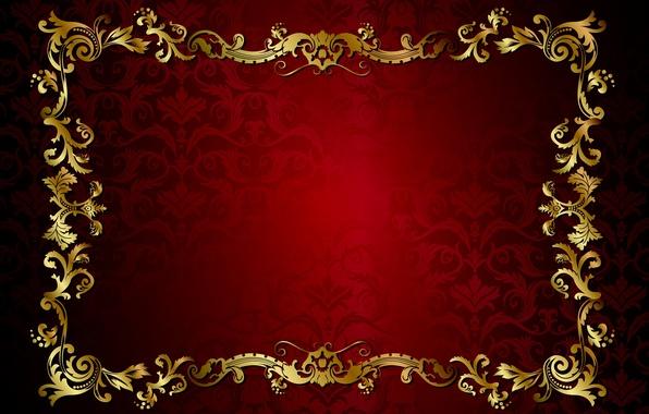 Picture retro, pattern, vector, dark, red, golden, ornament, vintage, texture, vintage, background, pattern, gradient