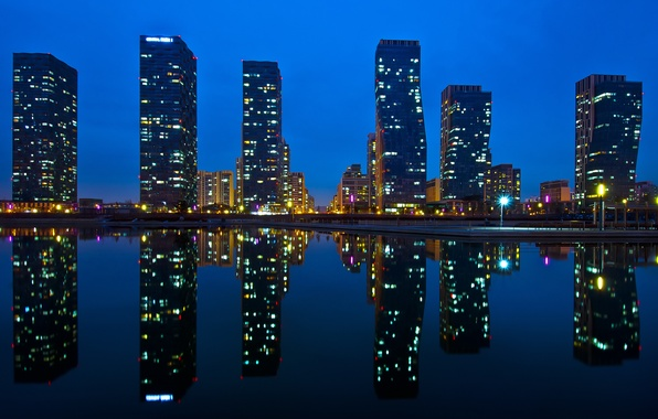 Picture water, reflection, night, the city, lights, home, Asia, Korea, skyscrapers, Central Park, Incheon, Songdo