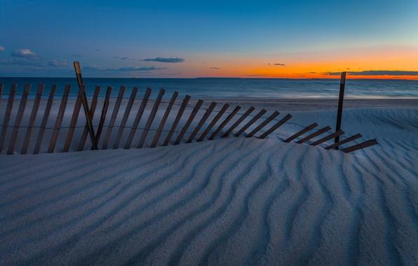 Picture beach, twilight, sea, sunset, seascape, sand, fence, dusk, horizon, ships