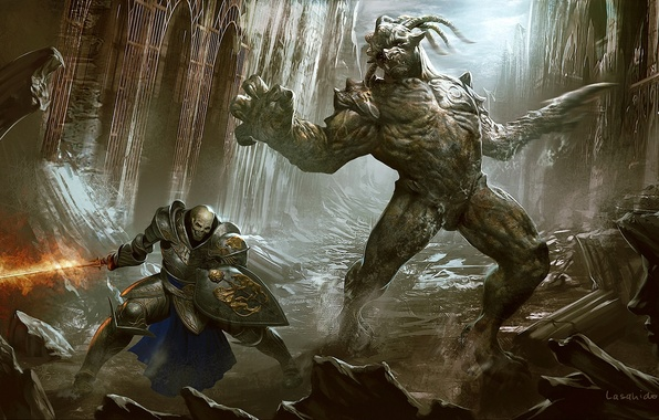 Picture weapons, rocks, fire, skull, building, art, monsters, gorge, ruins, shield, abandonment, undead, armor