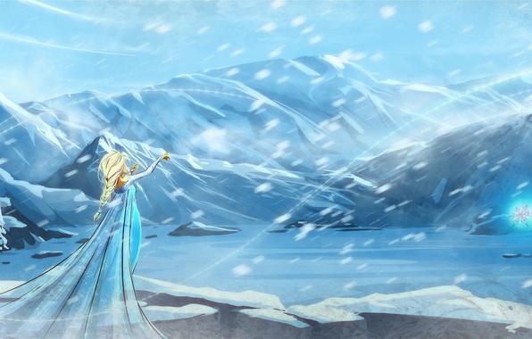 Picture girl, snow, cartoon, art, Blizzard, frozen, cold heart