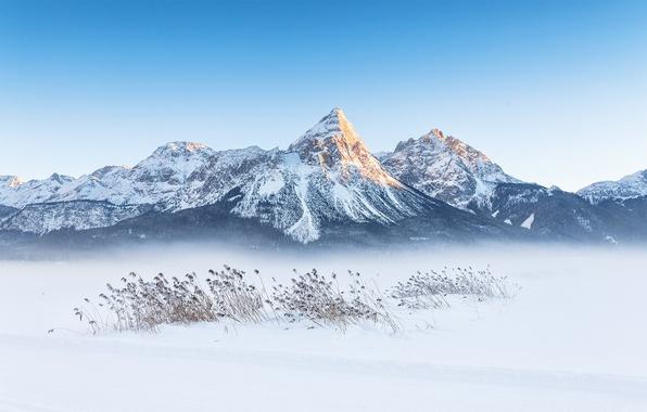 Photo wallpaper winter, mountains, snow