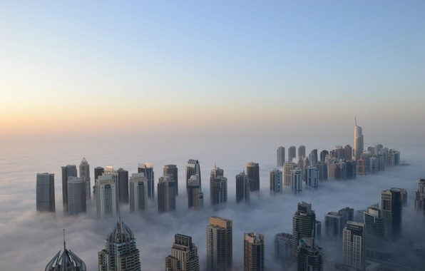 Picture fog, height, skyscrapers, morning, Dubai, cool
