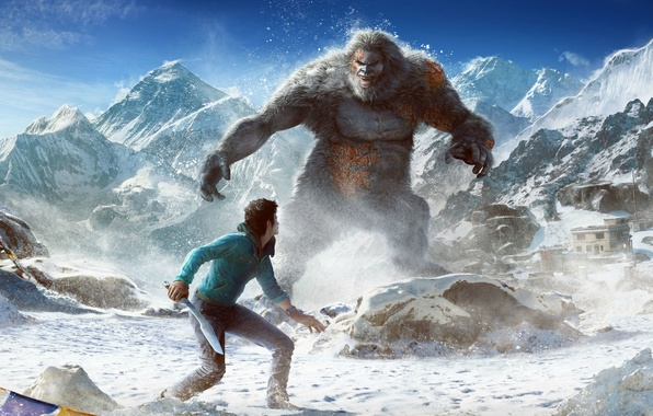 Picture The sky, Clouds, Mountains, Look, Snow, Fur, Weapons, Ubisoft, DLC, Far Cry 4, Kyrat, Ajay …