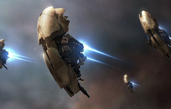 Picture space, stars, flight, nebula, ships, art, spaceships, Alexey