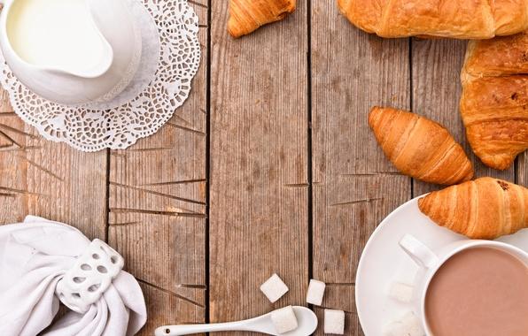 Picture food, Breakfast, milk, Cup, sugar, cup, cocoa, sugar, cocoa, growing, breakfast, croissant, milk